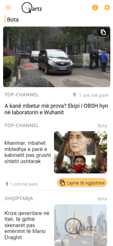 Quartz app - lajmet e ditës